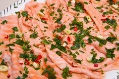 Marinated salmon Stock Photos