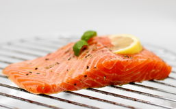 Marinated salmon fillet with lemon on grill, soft focus Royalty Free Stock Photos