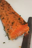 Marinated salmon Side dishes on cut Board. Royalty Free Stock Photography