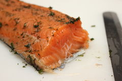 Marinated salmon Side dishes on cut Board. Royalty Free Stock Image