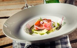 Marinated Salmon With Cream Cucumber And Dill. Royalty Free Stock Image