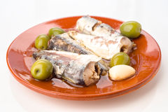 Marinated sardines on plate Stock Images