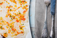 Marinated sea bass filet with ratatouille dressing. Close up Stock Photos