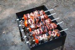 Marinated shashlik. Meat grilling on metal skewer, close up Stock Photo