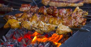 Marinated shashlik preparing on a barbecue grill over charcoal. Stock Images