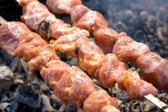 Marinated shashlik or Shish kebab preparing on a barbecue grill over charcoal. Marinated shashlik preparing on a barbecue grill over charcoal. Shashlik or Shish Stock Photos