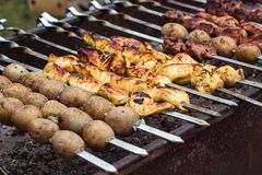 Marinated shashlik preparing on a barbecue grill over charcoal. Shashlik or Shish kebab popular in Eastern Europe. Shashlyk skewe. Red meat was originally made Royalty Free Stock Images