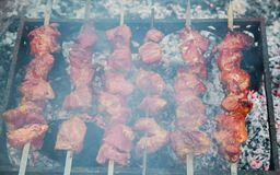 Marinated shashlik preparing on a barbecue grill over charcoal. Royalty Free Stock Photo