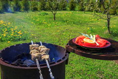 Marinated shashlik preparing on a barbecue grill over charcoal. Stock Photography