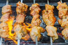 Marinated shashlik preparing on a barbecue grill over charcoal. Royalty Free Stock Photography