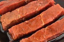 Marinated steak strips Royalty Free Stock Image