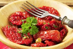 Marinated sun dried tomatoes Stock Images