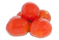 Marinated tomatoes isolated ower white. Background stock image