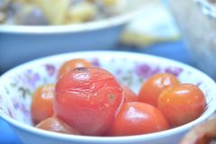 Marinated tomatoes in plate Royalty Free Stock Photos