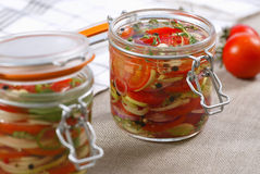 Marinated vegetables. Fresh marinated tomatos and onions stock image