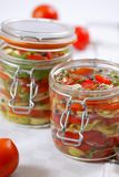 Marinated vegetables. Fresh marinated tomatos and onions stock photography