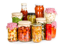 Marinated vegetables in glass jars Stock Image