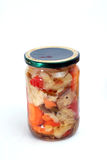 Marinated vegetables in jar Stock Photos