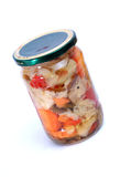 Marinated vegetables in jar Stock Image