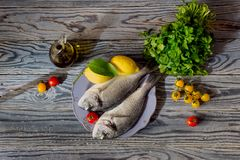 Fish sea breams(Sparus aurata) on a plate on a wooden table. Healthy eating. Fish sea breams(Sparus aurata) on a plate, lemons and Royalty Free Stock Images