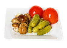 Marinated vegetables and mushrooms Stock Photography