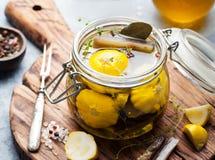 Marinated yellow pattypan summer squash, eggplant Stock Images