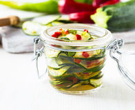 Marinated zucchini salad Stock Image