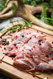 Marinating fresh meat with the rosemary Royalty Free Stock Photos