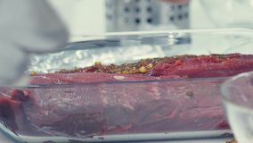 Marinating meat. Marinade for meat. Cooking roast beef. stock video