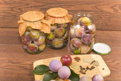 Marinating plums Stock Image