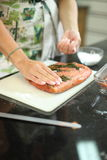 Marinating Salmon Fish Royalty Free Stock Photo