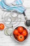Marination des tomates de récolte Photographie stock