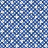 Marinblå gingham med blommatygbakgrund Royaltyfri Fotografi