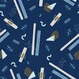 Marinblå Memphis Style Geometric Abstract Seamless vektormodell royaltyfri illustrationer