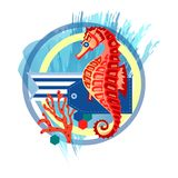 Composition with seahorse royalty free illustration