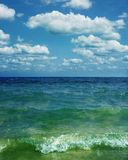 Marine. Seascape, marine picture with a lot of white clouds Stock Image