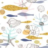 Marine abstract seamless pattern with hand drawn seashells and gold fish stock illustration