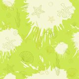 Marine algae,seamless pattern blue Royalty Free Stock Photos