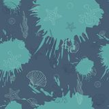 Marine algae,seamless pattern blue. Sea algae and shells,seamless pattern on dark  blots ink background.Sea.Marine Royalty Free Stock Images