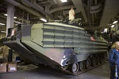 Marine Amphibious Assault Vehicle. The Amphibious Assault Vehicle (AAV)�official designation AAV-7A1 (formerly known as LVT-7) is a fully tracked amphibious Royalty Free Stock Photos