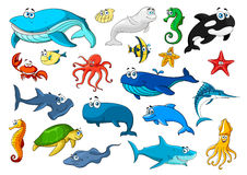 Marine animal  cartoon icon set Stock Image