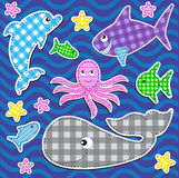 Marine animals. Set of cute colorful  marine animals.Vector stickers Stock Photography