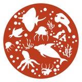 Marine animals. Red Circle, cake stencils vector illustration