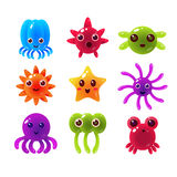 Marine Animals Balloon Characters Collection Illustration de Vecteur