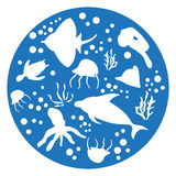 Marine animals blue Circle. Stencils stock illustration
