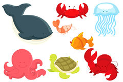 Marine animals cartoon. A  illustration of marine animals cartoon Stock Photo