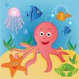 Marine animals. In the deep sea Royalty Free Stock Photo