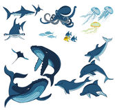 Marine animals and fish. Whales, dolphins, sharks, octopus, jellyfish and fish  on white background, vector illustration Stock Image