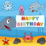Marine Animals Happy Birthday. Funny underwater scene with happy birthday banner. Eps file available Royalty Free Stock Images