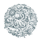 Marine animals, seafood. hand drawn sketches. vector illustration Royalty Free Stock Photography
